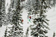Salto parasitario del esquiador de una rampa de la nieve en el sol en un fondo del bosque y de montañas Fotografía de archivo