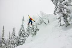Salto parasitario del Snowboarder de una rampa de la nieve en el sol en un fondo del bosque y de montañas Foto de archivo