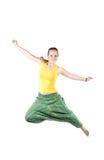 Salto positivo da mulher Foto de Stock Royalty Free