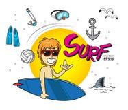 Salto que practica surf del mar del verano Imagenes de archivo