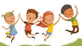 Salto sonriente feliz de los niños ilustración del vector