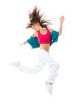 Salto sottile del danzatore della donna di stile di hip-hop Fotografie Stock