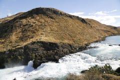 Saltochico waterval bij het Torres del Paine National Park, Patagonië Stock Afbeeldingen