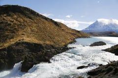 Saltochico waterval bij het Torres del Paine National Park, Patagonië Royalty-vrije Stock Afbeelding