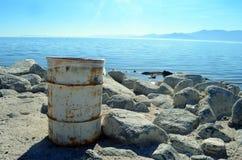 Salton Sea Barrel. Rusty barrel at the coast of the Salton Sea Royalty Free Stock Image