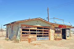 Salton Sea/Bombay Beach: Gas Station. This dilapidated building was once a gas station and repair shop serving the recreational community of Bombay Beach Royalty Free Stock Image