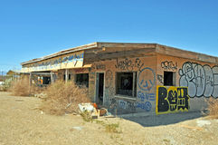 Salton Sea/Bombay Beach: Skips Diner. Prior to the heavy storms of 1976/1977, this building served as Skip's, a local diner and gathering place at Bombay Beach royalty free stock photo