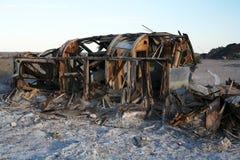 Salton Sea caravan. An abandoned caravan decays in at the Salton sea Stock Photo