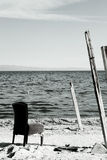 Salton sea chair. A rustic chair by the salton sea stock photography