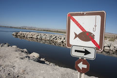Salton sea fishing sign Royalty Free Stock Photos