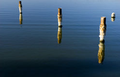 Salton Sea Pilings. Salt covered pilings in the Salton Sea, Southern California stock photography