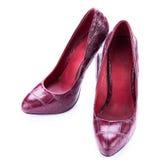 Saltos altos de couro à moda vermelhos isolados no branco Imagem de Stock