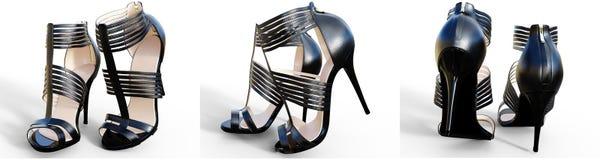 Saltos altos fêmeas bonitos ajustados das sandálias Imagem de Stock Royalty Free
