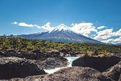 Saltos del Petrohue Waterfalls and Osorno Volcano - Los Lagos Region, Chile. Saltos del Petrohue Waterfalls and Osorno Volcano in Los Lagos Region, Chile stock photos