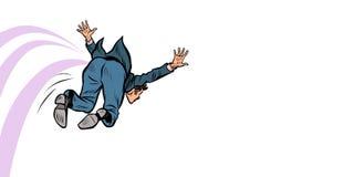 Saltos engraçados do homem de negócios para a frente ilustração stock
