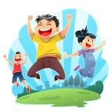 Saltos felizes Foto de Stock