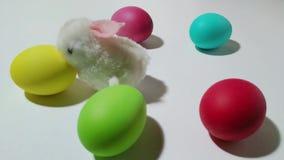 Saltos mecánicos del conejito de la conclusión entre los huevos de Pascua