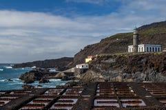 Saltpans and lighthouse Fuencaliente, La Palma, Canary Islands Stock Photography