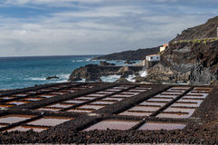 Saltpans and lighthouse Fuencaliente, La Palma, Canary Islands Stock Photo