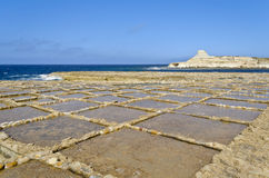 Saltpans in Xwejni, Gozo - Malta. The saltpans in the north part of island of Gozo Royalty Free Stock Photography