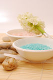 Salts. In a resort - Accessories for wellness, spa or relaxing bath aromatic  and accessory - Zen culture Royalty Free Stock Photography