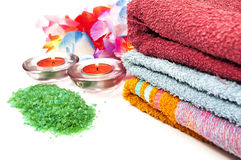 Salts for spa towels Royalty Free Stock Photos