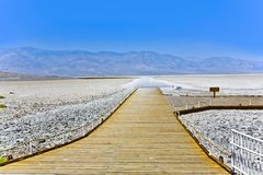 Saltsee and Badwater basin in death valley in midday heat stock photos