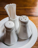 Saltshaker Pepper shaker and toothpick ceramics Royalty Free Stock Photo