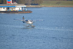 Saltspring Float Plane Landing in Vancouver. A local Saltspring float plane lands in Vancouver`s harbor on March 6, 2017 Stock Image