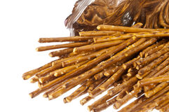 Saltsticks in a bag (with clipping path). Group of Saltsticks in a bag isolated on white background (with clipping path Royalty Free Stock Photo