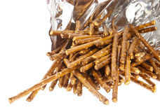 Saltsticks in a bag (with clipping path). Group of Saltsticks in a bag isolated on white background (with clipping path Royalty Free Stock Photography