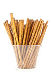 Saltsticks in a glass (with clipping path). Group of saltsticks in a glass isolated on white background (with clipping path Stock Photos