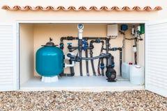 Saltvatten, salt vatten, simbassängfilter och pumpar Royaltyfria Foton