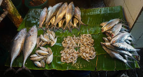 Saltwater fishes sold by fishmonger at Pasar Minggu traditional market in Jakarta Indonesia Royalty Free Stock Photo