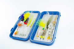 Saltwater Fly box with Flies Royalty Free Stock Photo