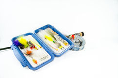 Saltwater Fly Rod and Reel with Fly Box Stock Photos