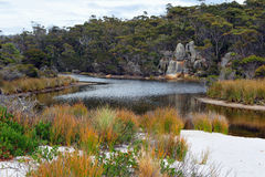 Saltwater lagoon, Bay of Fires, Tasmania, Australia Royalty Free Stock Images