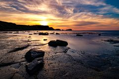 Saltwick Bay, Whitby, North Yorkshire stock photography