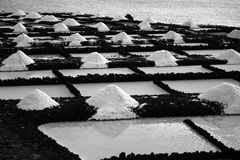Saltwork. In canary islands, black and white stock image