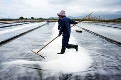 Saltworker聚集白色盐在堆的在s 库存照片