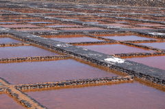Saltworks on Fuerteventura. Saltworks Salinas del Carmen on the Canary island Fuerteventura, Spain Royalty Free Stock Image