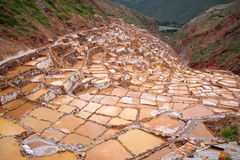 Saltworks in Maras, Peru Stock Photo