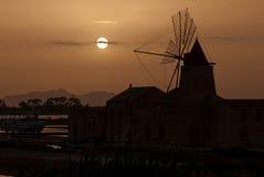 saltworks Sicily Trapani wiatraczek Obraz Royalty Free