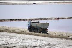 Saltworks and truck: Saline-de-Giraud, Camargue Stock Images