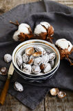 Salty apricot pits in oriental ceramic pattern bowl Royalty Free Stock Photography