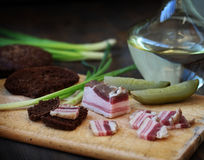 Salty bacon appetizer Russian vodka Royalty Free Stock Images