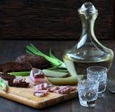 Salty bacon appetizer Russian vodka Stock Photo