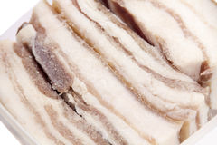 Salty bacon closeup. Home cooking Stock Images