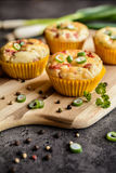 Salty bacon muffins with onion Royalty Free Stock Images