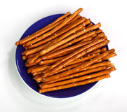 Salty bread finger snacks on a blue plate Stock Photography